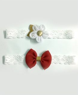 Knotty Ribbons Set Of 2 Glitter Flower & Bow Headbands - White & Red