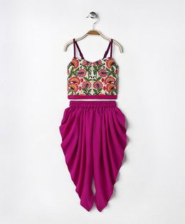Twisha Embroidered Strappy Top With Dhoti - Pink