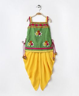 Twisha Sleeveless Embroidered Kurta With Dhoti - Green & Yellow