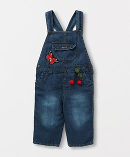 Eimoie Casual Solid Denim Dungaree With Patch - Indigo
