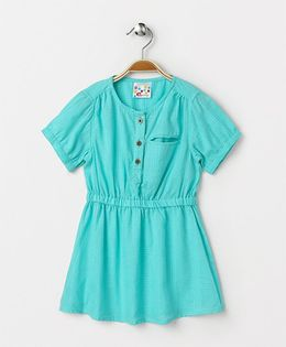 Eimoie Elasticated Waist Flare Casual Dress - Sky Blue
