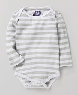 Eimoie Full Sleeves Striped Printed Onesie - White & Grey