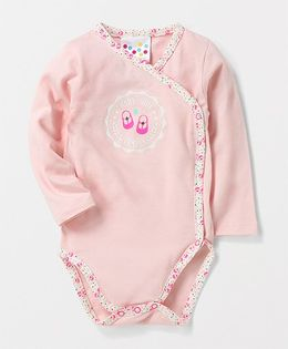 Eimoie Full Sleeves Crossover Printed Onesie - Light Pink