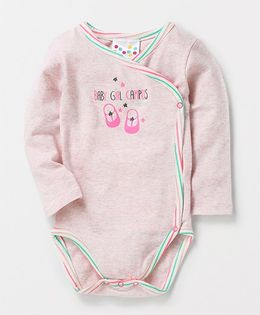 Eimoie Full Sleeves Crossover Printed Onesie - Pink
