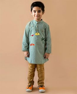 Tiber Taber Heartfelt Checks Kurta With Detachable Toys - Green