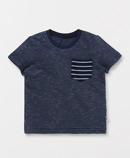 Holy Brats Solid Tee With Striped Pocket - Dark Indigo