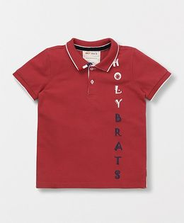 Holy Brats Printed Polo Tee - Red