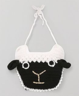 Mayra Knits Sheep Face Bib - White & Black