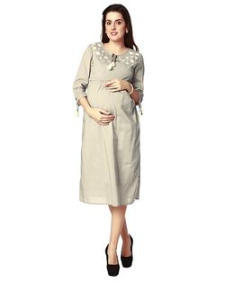 Nine Three Fourth Sleeves Maternity Dress Embroidered - Grey