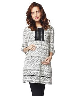 Nine Three Fourth Sleeves Maternity Tunic Printed - Off White