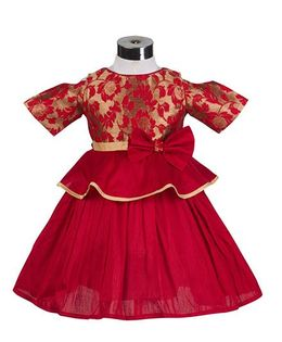 The KidShop Rose Flower Peplum Style Party Dress - Red