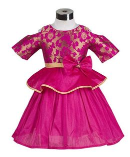 The KidShop Rose Flower Peplum Style Party Dress - Fuschia Pink