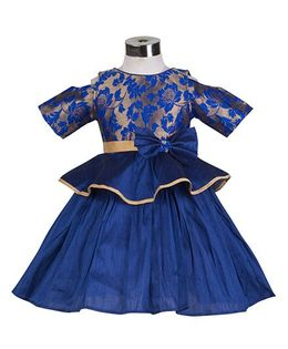The KidShop Rose Flower Peplum Style Party Dress - Royal Blue