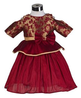 The KidShop Rose Flower Peplum Style Party Dress - Maroon