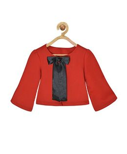 Pspeaches Scuba Shrug With Front Bow Design - Red