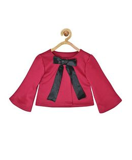 Pspeaches Scuba Shrug With Front Bow Design - Magenta