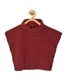 Pspeaches Poncho With Side Buttons - Maroon