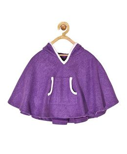 Pspeaches Hooded Poncho With Front Pocket - Purple