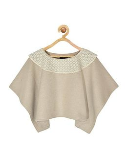 Pspeaches Stylish Lace Neck Line Poncho - Camel