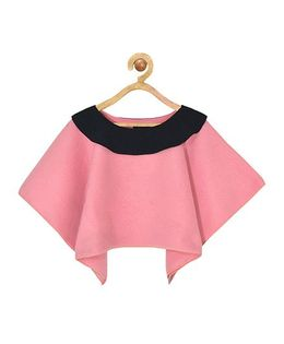 Pspeaches Stylish Poncho With Front Tie Up - Dull Pink