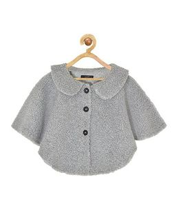 Pspeaches Peter Pan Collar Front Open Jacket - Grey