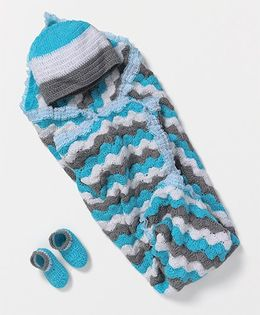 The Original Knit Wool Blanket With Cap & Booties Set - Multicolor