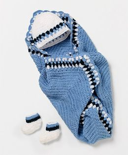 The Original Knit Wool Blanket With Cap & Booties Set - Blue