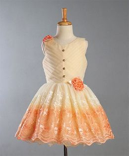 Bluebell Sleeveless Party Wear Frock Floral Applique - Orange Cream