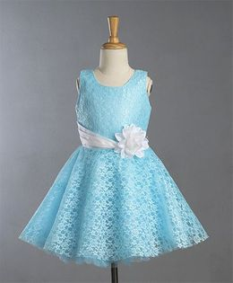 Bluebell Sleeveless Party Wear Lace Frock Floral Applique - Sky Blue