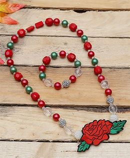 D'chica Pretty Rose Patch Pendant Jewelry Set - Red & Green