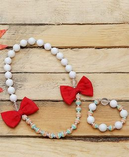 D'chica Love For Bows Jewelry Set - White & Red