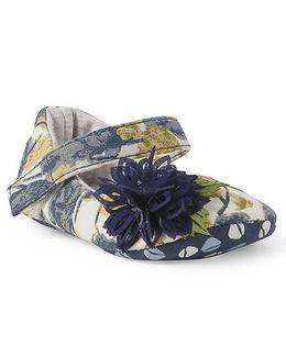 Ivee Anti Skid Soft Sole Floral Booties - Navy