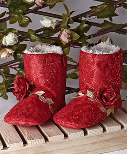 Ivee Flower Applique Anti Skid Boots - Red