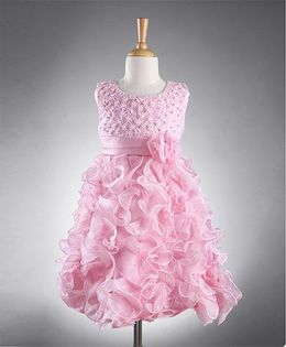 Party Princess Party Wear Dress With Flowers - Baby Pink