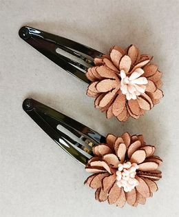 Tiny Closet Beautiful Flower Snap Clip Set Of 2 - Light Brown