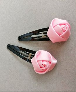 Tiny Closet Rose Bud Snap Clip Set Of 2 - Baby Pink
