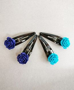Tiny Closet Rose Bud Snap Clip Set Of 4 - Aqua Blue & Royal Blue