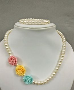 Tiny Closet Rose Design Bracelet & Necklace - Pink Yellow & Sea Green