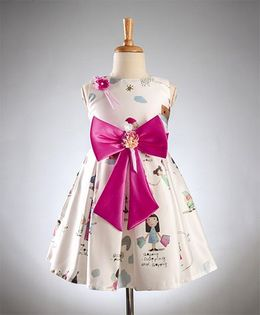 Maalka Printed Bow Applique Dress - White