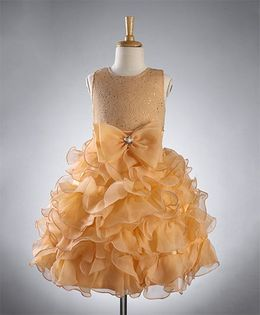 Maalka Bow Applique Frilly Dress - Fawn