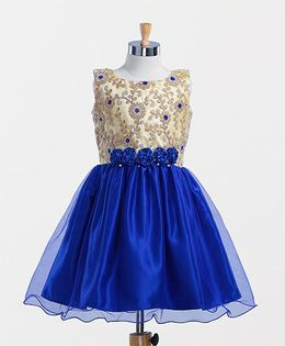Winakki Kids Embroidered Flower Applique Dress - Blue