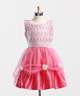 Winakki Kids Stylish Net Dress - Pink