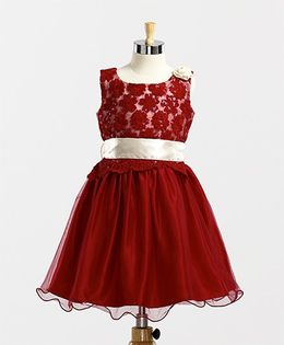 Winakki Kids Embroidered Lace Dress - Red