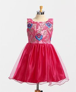 Winakki Kids Embroidered Beautiful Dress - Pink