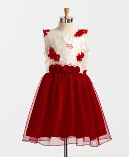 Winakki Kids Beautiful Flower Applique Dress - Red