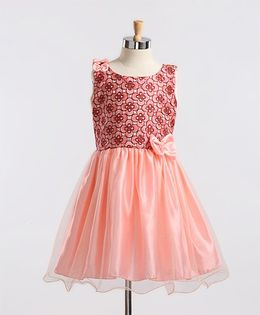 Winakki Kids Bow Applique Dress - Peach