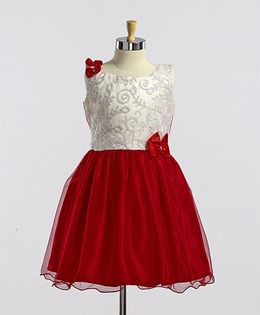 Winakki Kids Embroidered Design With Bow Dress - Red