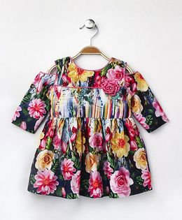 Enfance Core Floral Print Full Sleeves Dress - Multicolor
