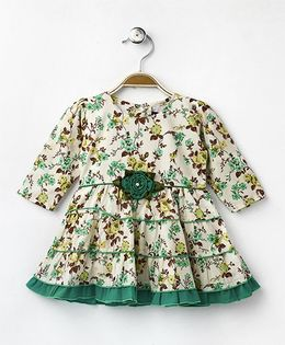 Enfance Core Floral Print Casual Dress - Green