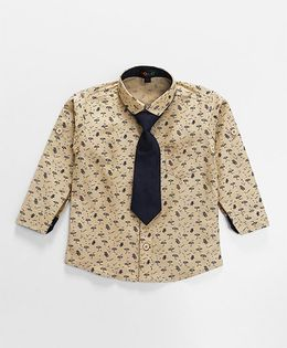 Robo Fry Full Sleeves Printed Shirt With Tie - Beige